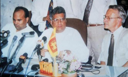 Prime Minister Ranil Wickremasinghe addressing a press conference after signing the Ceasefire Agreement.